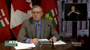 Coronavirus: Ontario reporting slightly fewer cases than originally projected, Williams says (01:48)