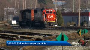 Approximately 3,200 CN Rail workers prepare to strike (00:25)