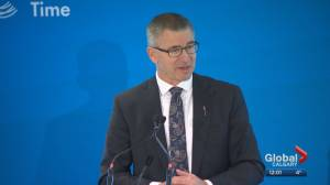 Alberta's finance minister speaks to Calgary chamber after budget (04:05)