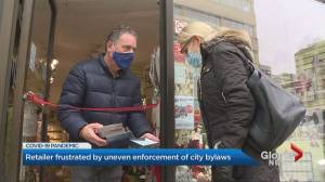 Toronto store owner feeling bylaw blues while trying to survive COVID-19 lockdown (01:48)