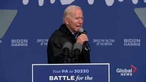 U.S. election: 'We have to earn our democracy,' says Biden in Pennsylvania two days before election (02:28)