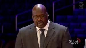 Shaq chokes up delivering emotional tribute to Kobe Bryant: 'I lost a little brother'