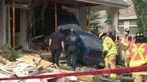 Car crashes into home in Edmonton's Summerside neighbourhood (00:46)