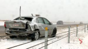 Wintry conditions cause havoc on Calgary roads (01:40)