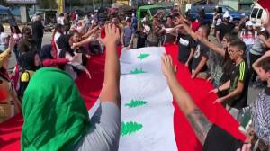 Demonstrators gather in Tripoli and Nabatieh, Lebanon