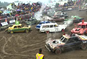 Annual Armstrong Demolition Derby delivers carnage in pouring rain