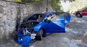 Car slams into stone wall north of Grafton (00:32)
