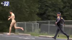 Naked murder suspect caught by police in bizarre arrest caught on camera