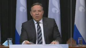 Legault says people aged 45 and older can get AstraZeneca COVID-19 vaccine in Quebec (00:35)