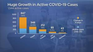 B.C. active COVID-19 case numbers creep up again after long weekend (01:30)