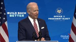 US election: Biden responds to Trump's backtrack on recognizing his win (03:15)