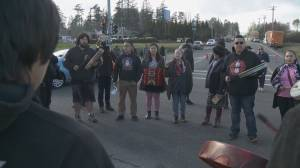 Detours and delays as handful of protesters stands on Pat Bay Highway Wednesday