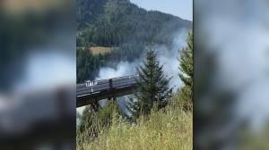 Lytton wildfire: Witness account of burning train at Boston Bar (03:11)