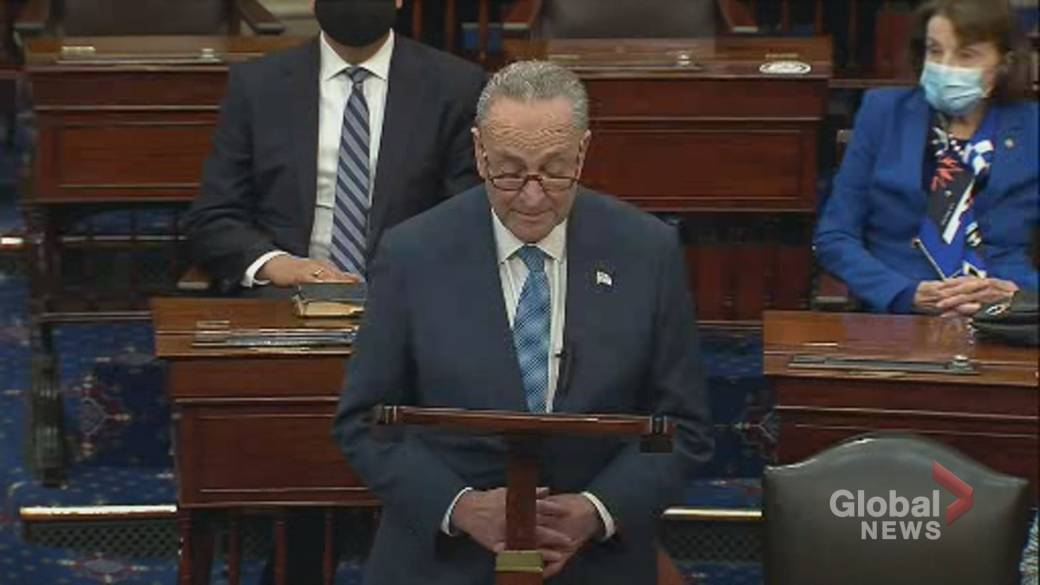 Click to play video: 'Inauguration Day: Chuck Schumer delivers 1st speech as Senate Majority Leader'