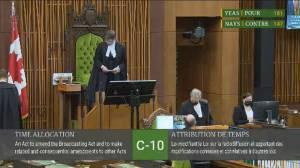 Liberals, Bloc vote to end Bill C-10 study amid social media free speech concerns (00:41)