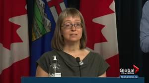 Dr. Deena Hinshaw tells town hall data used to change Alberta's COVID-19 protocols still not public (01:59)