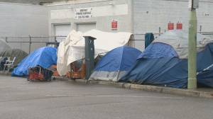 Tent city blocks Kelowna sidewalk (01:06)