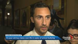 Ontario education minister responds to boy's tragic death, reportedly victim of bullying