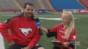 Junior Reporter Khloe chats with Stampeders kicker Rene Paredes