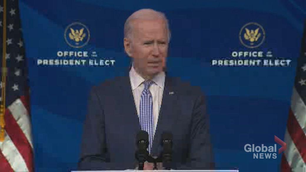Click to play video 'Biden says U.S. democracy under 'unprecedented assault' after pro-Trump rioters storm Capitol buildings'