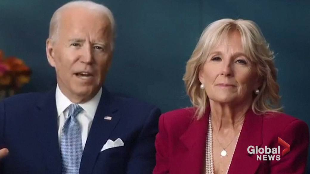 Click to play video 'Coronavirus: Joe Biden, wife Jill highlight importance of Americans staying home for Thanksgiving'