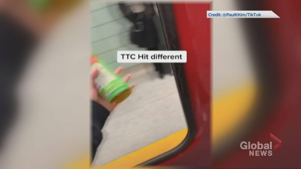 TTC subway rider appears to film TikTok video through train door missing window