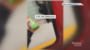 TTC subway rider appears to film video through missing window of train door