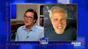 Jon Stewart pens new nickname for U.S. President Donald Trump on 'Late Show,' Stephen Colbert approves