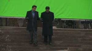 Robson Square transformed for Seth Rogam, James Franco film