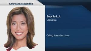 Sophie Lui feels earthquake in Yaletown