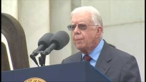 Former US President Jimmy Carter speaks at the 50th anniversary of the March on Washington