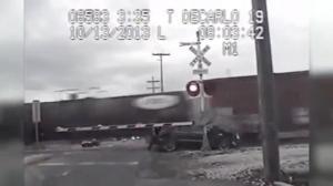 Train vs car caught on dash cam