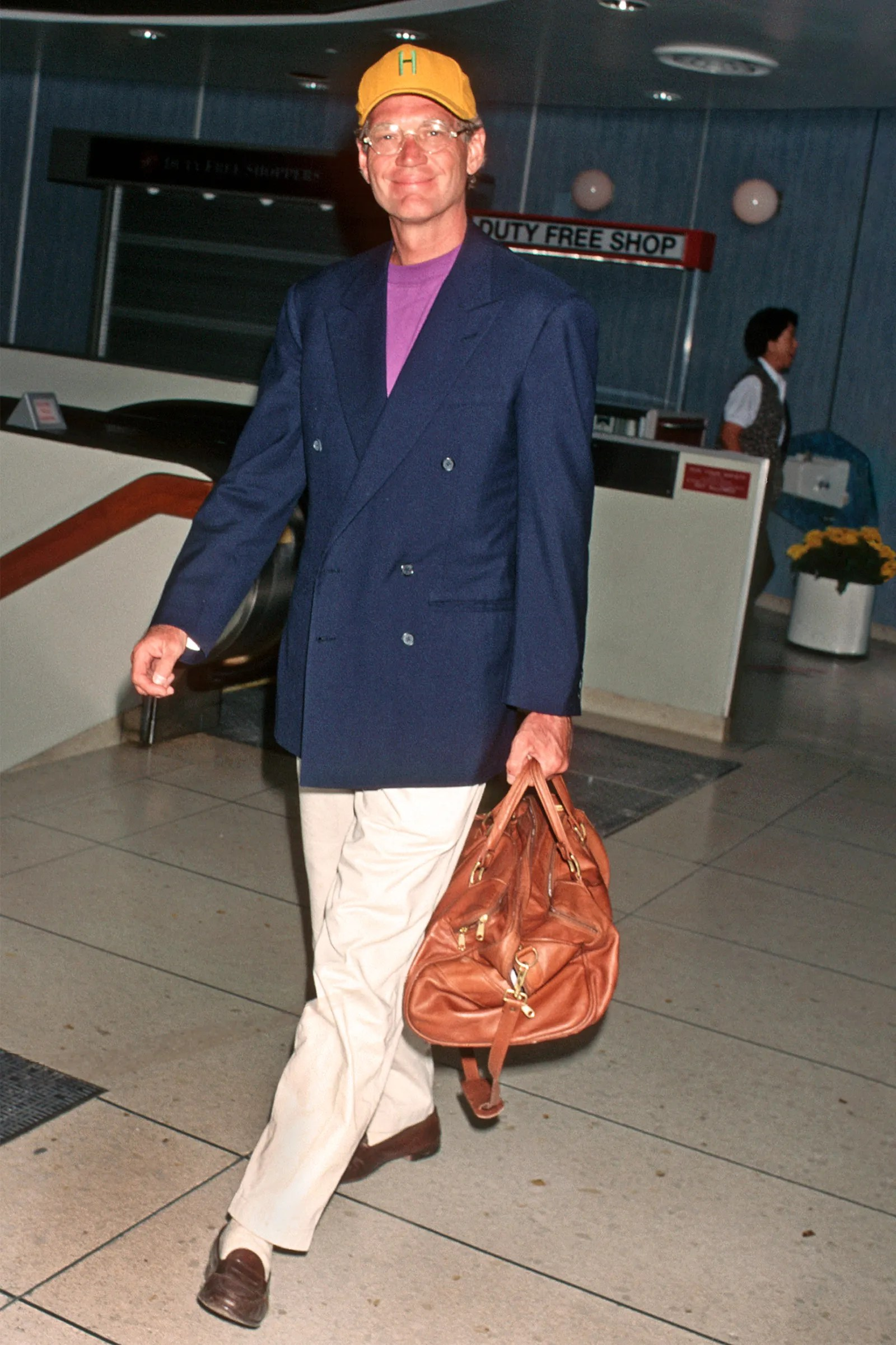 david letterman walking through the airport in the 90s