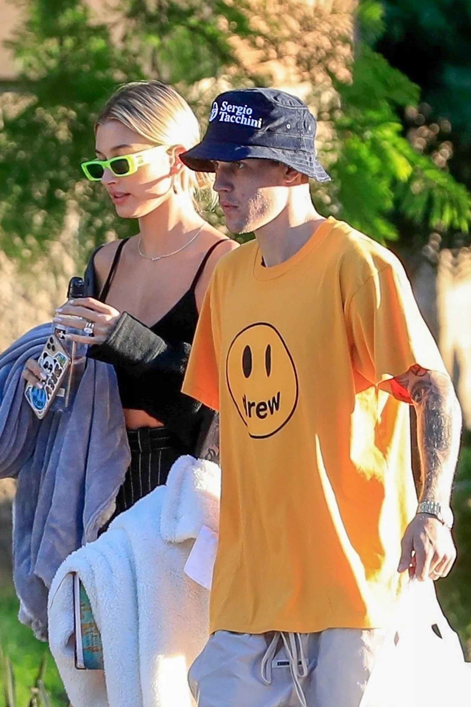 Beverly Hills CA Happy couple Justin Bieber and Hailey Bieber seen leaving the park with blankets and leftovers on...