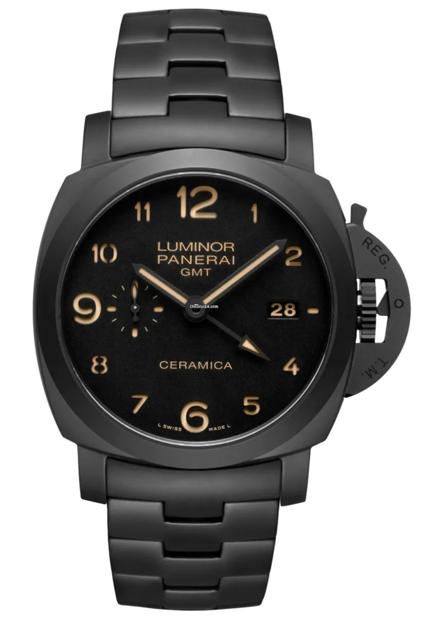 A black watch with a gold numbers