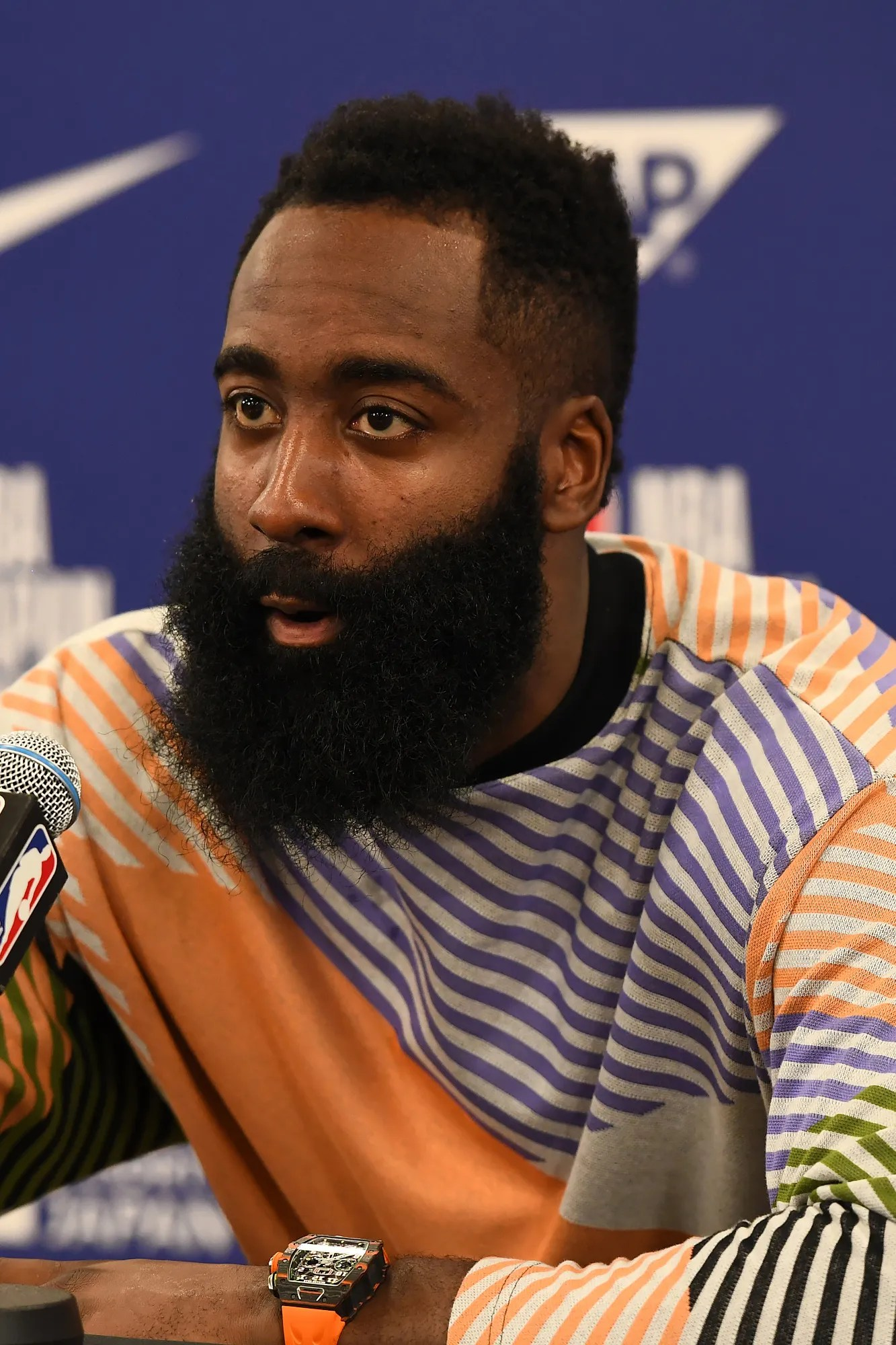 SAITAMA JAPAN OCTOBER 8 James Harden 13 of the Houston Rockets speaks with media at the press conference after the 2019...