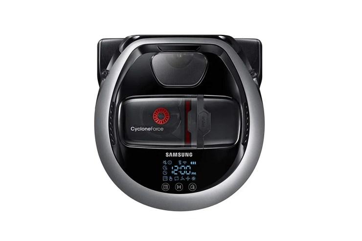 A black robot vacuum
