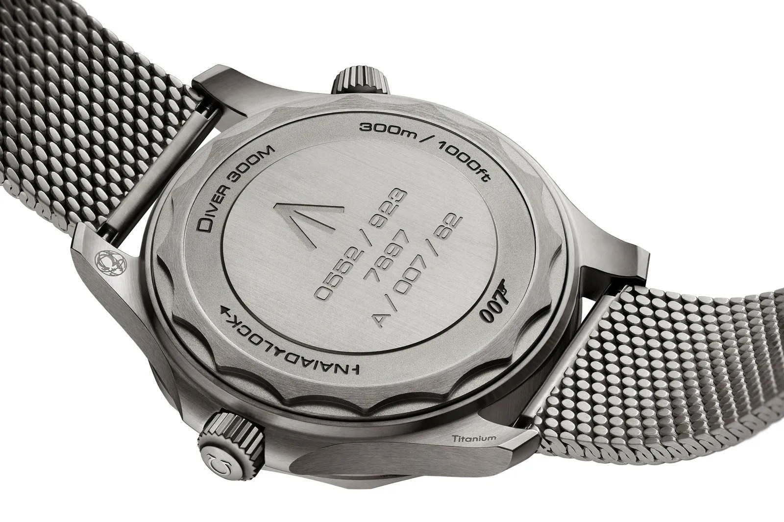 the back side of a silver omega wrist watch on a white background