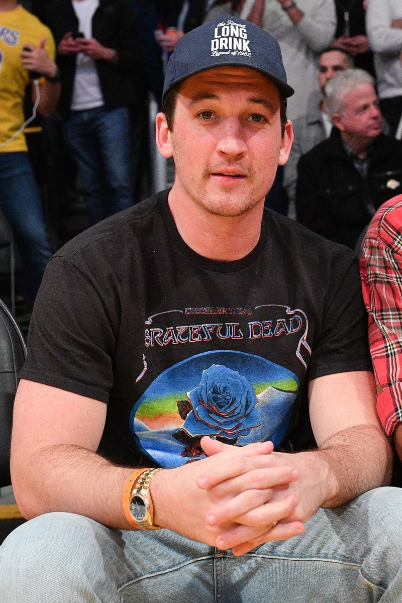Miles Teller attends a basketball game between the Los Angeles Lakers and the Philadelphia 76ers at Staples Center on...