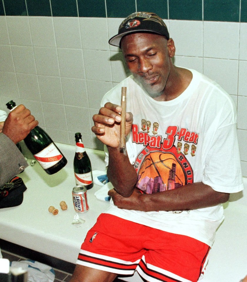 Michael Jordan after a game six win of the NBA Finals in Salt Lake City June 14 1998.