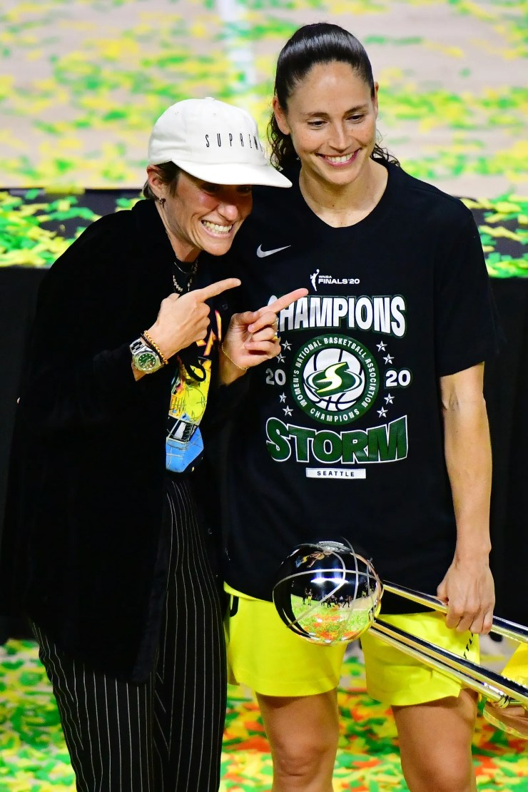Sue Bird and Meghan Rapinoe celebrating winning the WNBA championship
