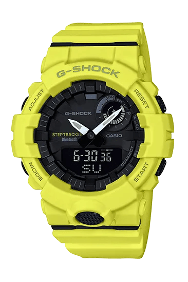 A yellow watch with a black face
