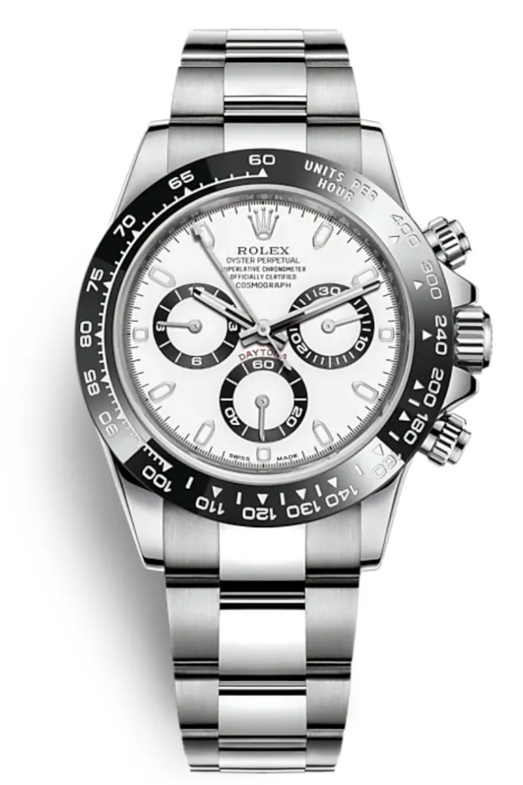 A silver rolex with a black bezel white face and black subdials