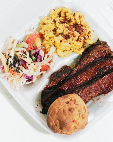 Coalesce Goods' brisket plate with a boudin ball.