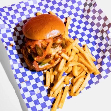 Vegan Wit A Twist's Da Pressure cheeseburger.