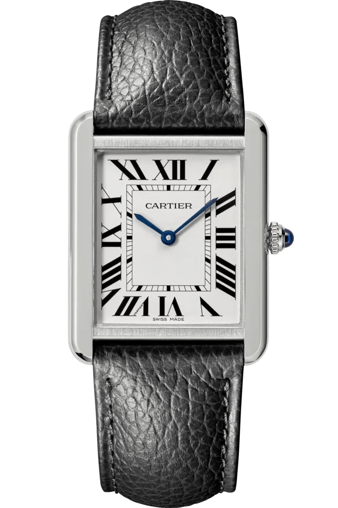 A rectangular steel watch with a white face and sapphire accents