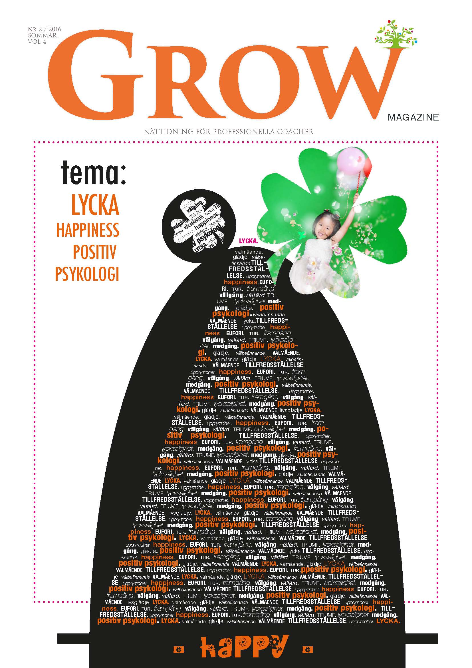 Omslag GROW magazine vol 4 Tema: Lycka, Happiness & Positiv Psykologi