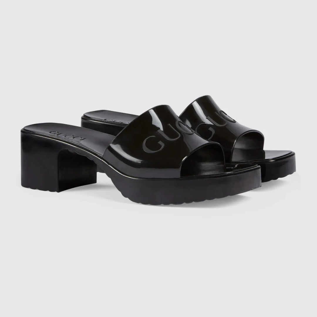 Gucci Rubber Slide Platform Sandals black