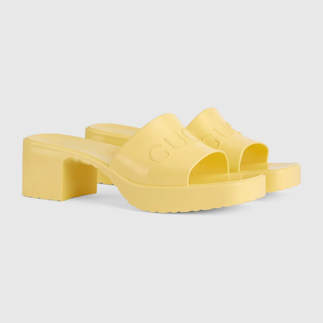 Gucci Rubber heel Sandals yellow