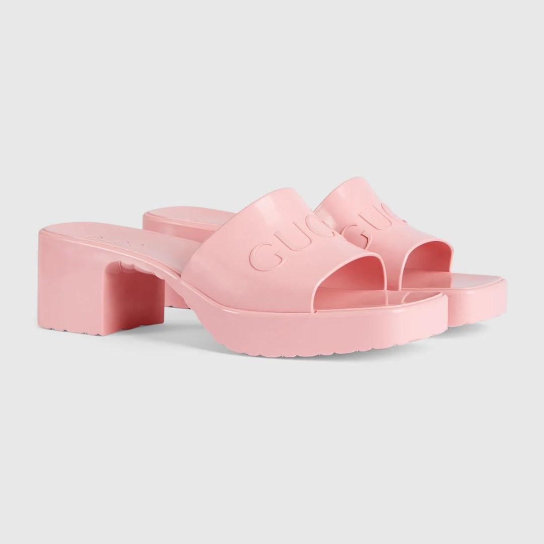 Gucci Rubber Platform Sandals pink